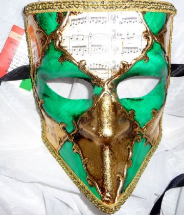 Genuine Venetian Green & Cream Bauta Mask